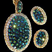 Vintage Rhinestone Necklace & Earrings, Blue / Green
