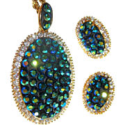 Vintage Rhinestone Necklace & Earrings, Blue / Green
