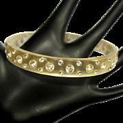 Vintage Rhinestone Bracelet, Lucite Bangle