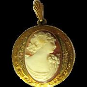 Vintage Cameo Locket, GF Tri Color Pendent / Necklace