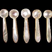 Mop Salt Spoons, Vintage Set of Five
