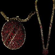 Victorian Locket, Rose Cut Garnets, 8K Gold