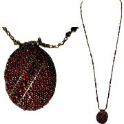 Victorian Locket, Rose Cut Garnets, 8K Gold