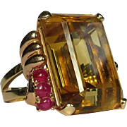 14K Cocktail Ring, Citrine, Ruby, Rose Gold 1940's Vintage