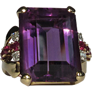 Amethyst, Diamond & Ruby Ring, 14k, 1940's Retro