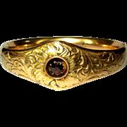 Victorian GF Bracelet, Garnet, Floral Engagement