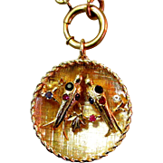 14K Gold Charm, 1950's Lovebirds With Gems