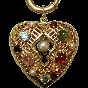 14K Heart Charm, Filigree & Gem Stones, Vintage 50's