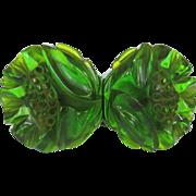 Vintage Bakelite Clamper Bracelet, Green Prystal Floral
