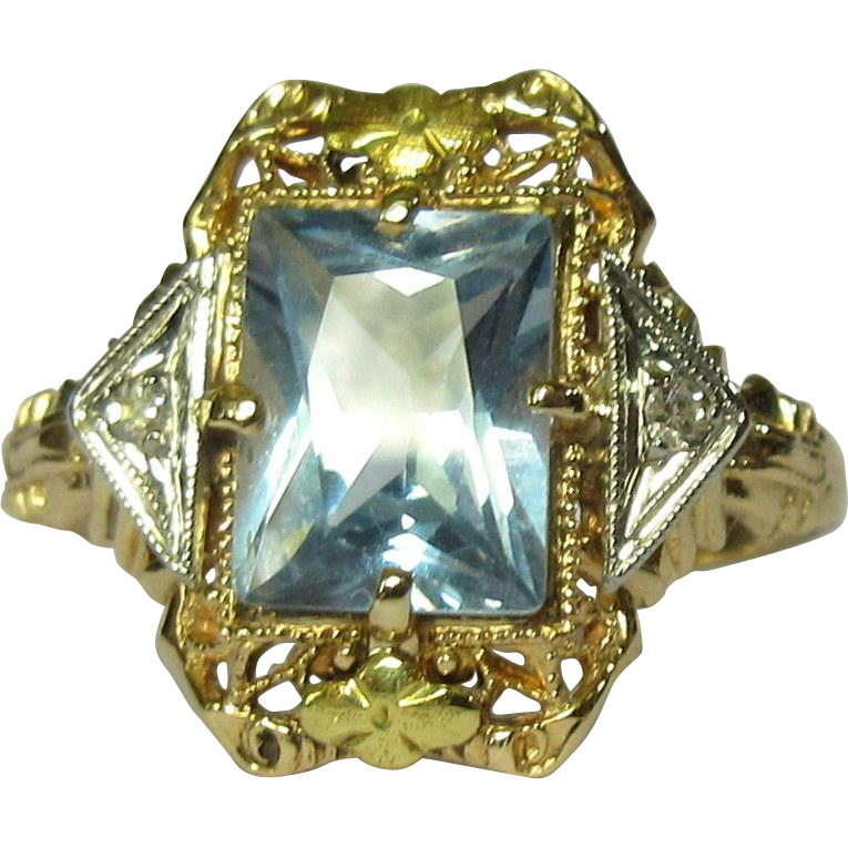 Vintage Gold Ring Aesthetic Movement Tri Color Diamonds