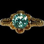 Victorian Blue Zircon Ring, 10K Blossom