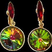 Watermelon Rivoli Earrings, Vintage Drops, Large Crystal
