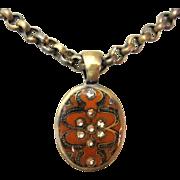 Rhinestone Enamel Necklace,Vintage 1980's