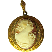 Vintage Cameo Locket, GF Tri Color Pendent / Necklace