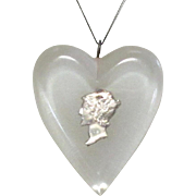 Vintage Heart Pendent, Lucite & Mercury Dime