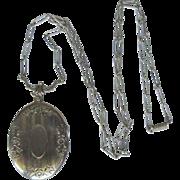 Vintage Locket Necklace, Victorian Revival, Etched