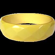 Bakelite Bracelet, Faceted Bangle, Yellow 40's Deco