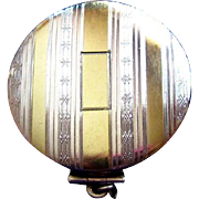 Sterling & 18K Compact, Art Deco Dance