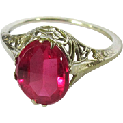 14K Filigree Ring, Vintage Synthetic Ruby