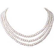 Vintage Pearl Necklace, 14K Clasp, Three Strand