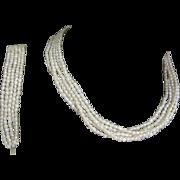 Baroque Pearl Necklace & Bracelet, 14K Filigree Clasp, Multi Strand