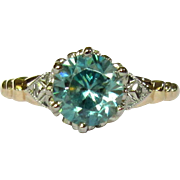 Vintage Engagement Ring, Blue Zircon, 10K  Art Deco