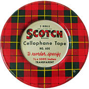Scotch Tape Tin, Vintage Plaid, 1950's Vintage