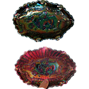 Fenton Carnival Glass Dish, Vintage Blue / Amethyst
