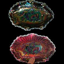 Fenton Carnival Glass Dish, Vintage Blue / Amethyst - Red Tag Sale Item