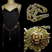 Vintage Enamel Belt, Medallions, 1920's Egyptian  Revival