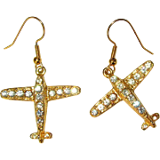 Rhinestone Airplane Earrings, Vintage