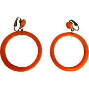 Bakelite Hoop Earrings, Articulated, Large, Deco Melon