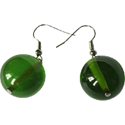 Bakelite Earrings, Lime Juice Vintage Beads