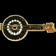 Rhinestone Banjo Pin, Vintage Brooch