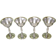 Art Deco Cocktail Glasses, Set of 4 Chrome Goblets