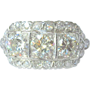 Art Deco Platinum and Diamond Ring, 2.37 cts