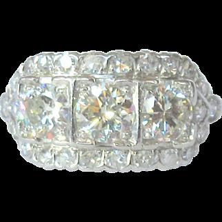 Art Deco Platinum and Diamond Ring, 2.37 cts
