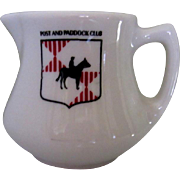 Restaurant Cream Pitcher, Post & Paddock Club, Horse