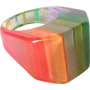 Lucite Rainbow Ring, Vintage Pastels