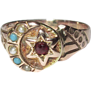 Victorian Ring, 10K Rose Gold Moon & Star Pearls, Turquoise & Garnet