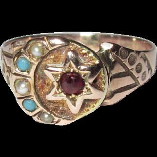 Victorian Ring, 10K Rose Gold Moon & Star Pearls, Turquoise & Garnet