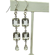 Vintage Crystal Earrings, Clear Rhinestone Drops
