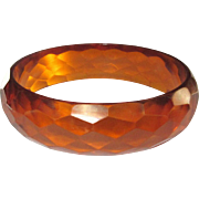 Bakelite Bracelet, Vintage Orange Prystal Faceted