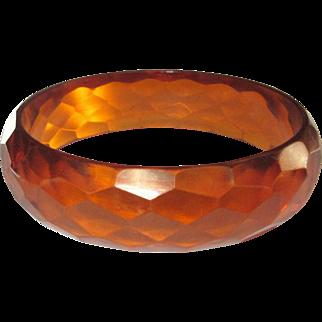 Bakelite Bracelet, Vintage Orange Prystal Faceted