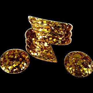 Lucite Confetti Bracelet & Earrings, Gold Glitter, 1950's
