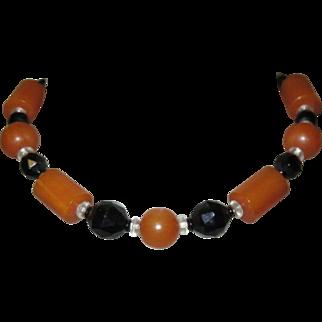 Bakelite Necklace, Vintage Butterscotch, Art Deco