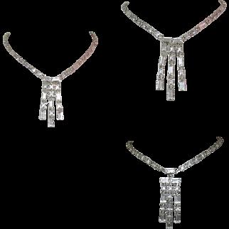 Vintage Crystal Necklace, Art Deco
