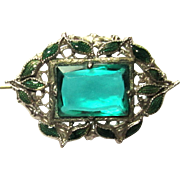 Art Nouveau Pin, Czech Glass Filigree & Enamel