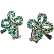 Shamrock Earrings, Rhinestone Vintage Clip On, 4 Leaf Clover
