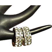 Deco Rhinestone Hoop Earrings, Vintage Ora, Channel Set